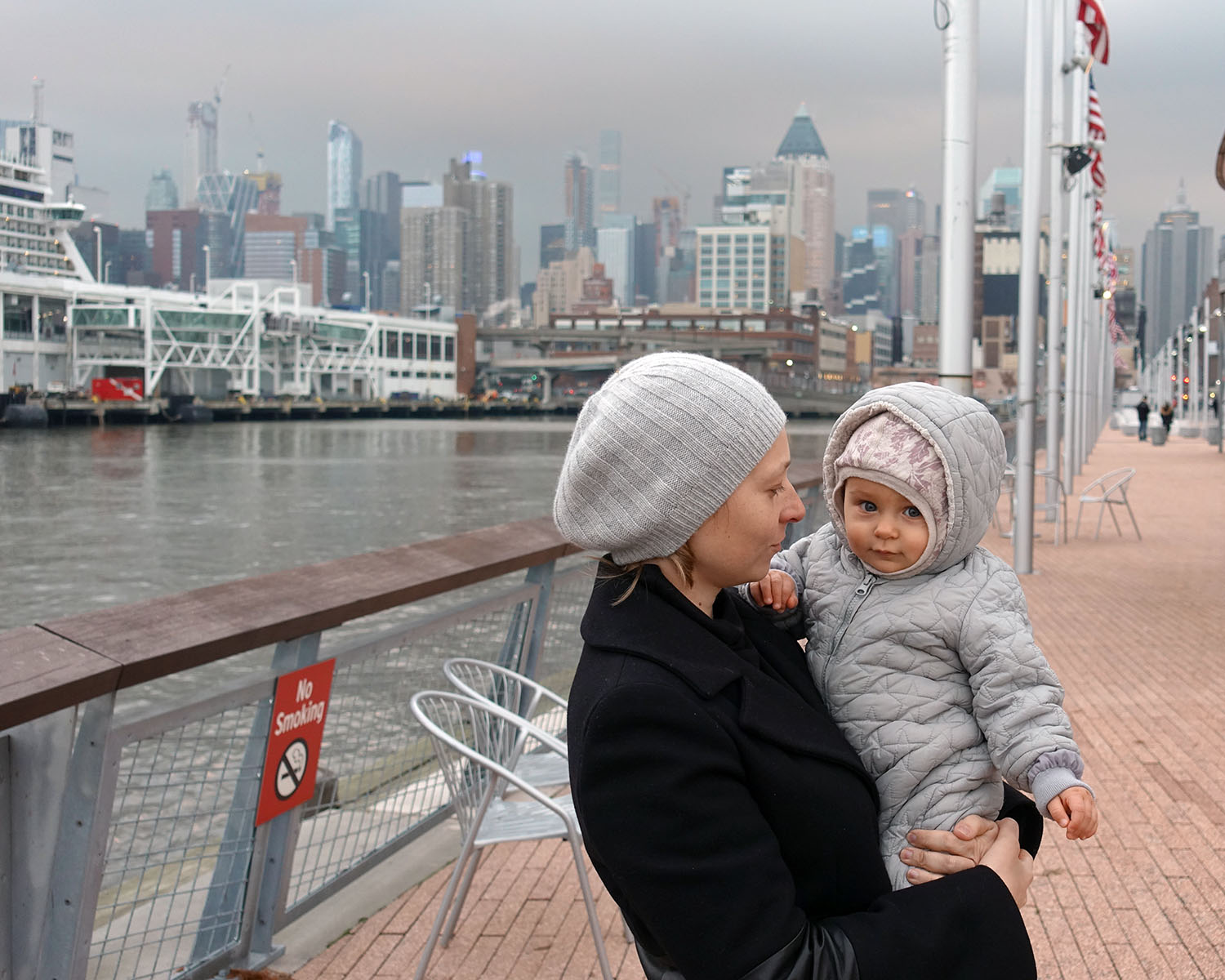 Anastasia on Pier 86, Hudson River Park, with skyline of Manhattan