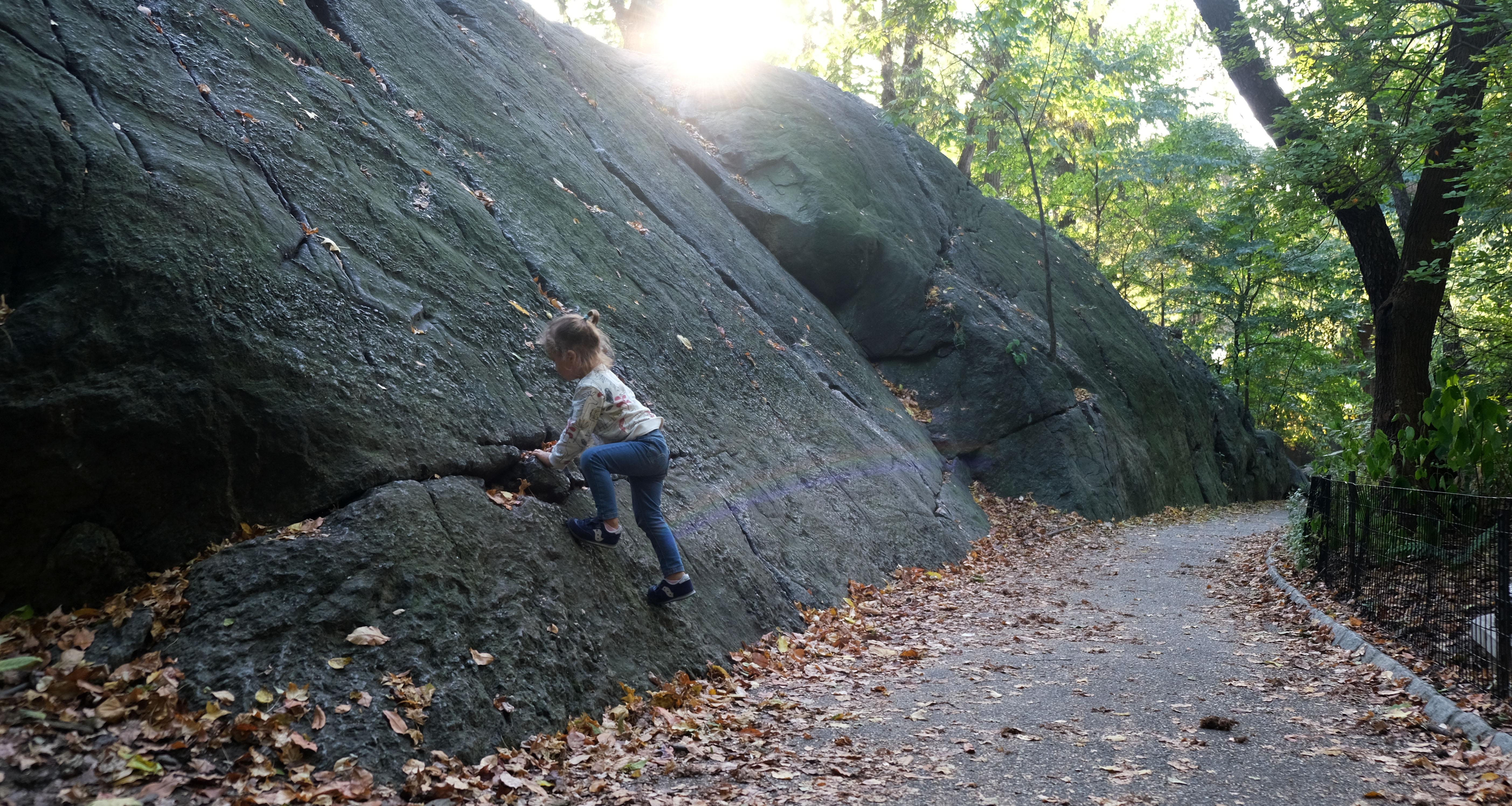 Anastasia does bouldering in Central Park