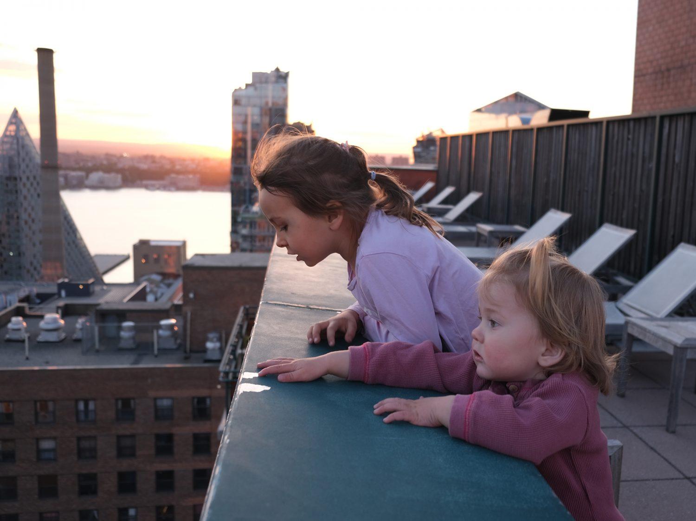 Anastasia and Daria, sunset, roof, skyline